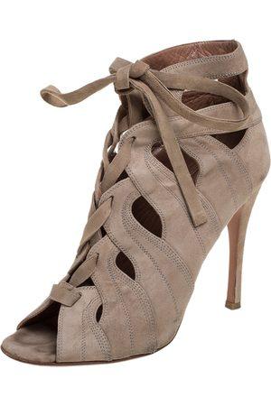 Alaïa Beige Cut Out Suede Lace Up Peep Toe Ankle Booties Size 37.5