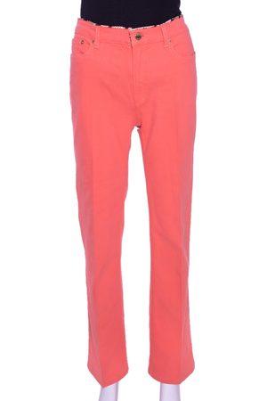 Roberto Cavalli Coral Pink Cotton Logo Plaque Detail Jeans L