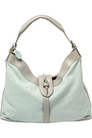 VALENTINO Mint Blue/Grey Grain Leather Metal Flap Hobo