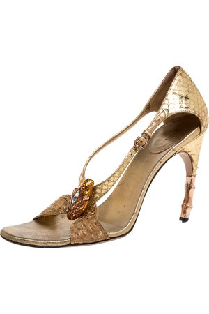 Gucci Gold Python Leather Embellished Bamboo Heel Sandals Size 37.5