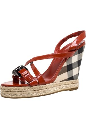 Burberry Burnt Orange Patent Leather and PVC Check Heel Wedge Sandals Size 38
