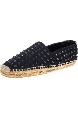 Saint Laurent Black Stud Embellished Canvas Espadrille Flat Size 40