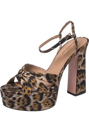 Aquazzura Caramel Leopard Print Jacquard Fabric Baba Plateau Platform Ankle Strap Sandals Size 38