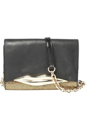 Diane von Furstenberg Metallic Gold Fabric and Black Leather Flirty Lips Mini Crossbody Bag