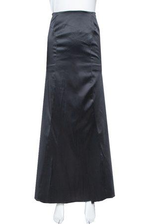 Roberto Cavalli Black Satin Train Detail Maxi Skirt L