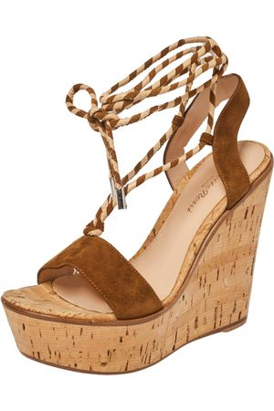 Gianvito Rossi Brown Suede Leather Wedge Platform Ankle Wrap Sandals Size 36.5
