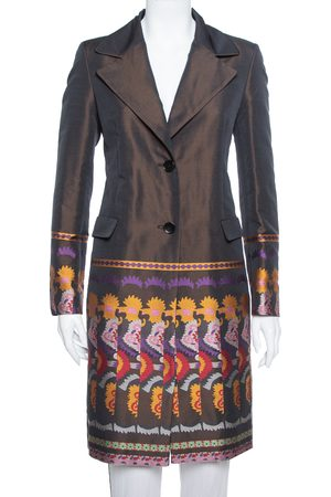 Etro Brown Brocade Detail Wool Mid Length Light Weight Coat M