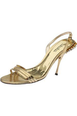 Sebastian Gold Leather Crystal Embellished Heel Slingback Sandals Size 38