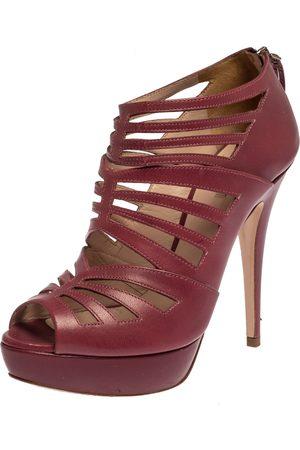 Miu Miu Pink Leather Cage Platform Ankle Booties Size 38.5