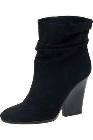 Burberry Black Suede Round Toe Wedge Heel Ankle Boots Size 39.5