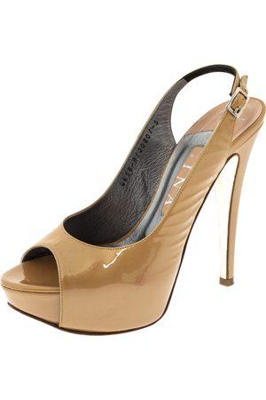 Gina Beige Patent Peep Toe Platform Slingback Sandals Size 38