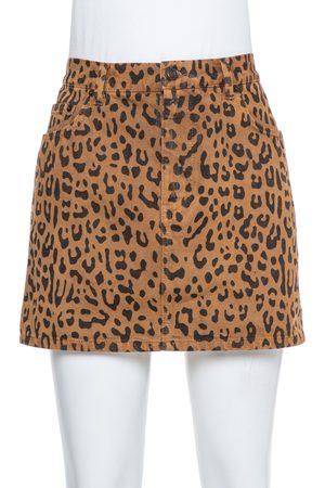 Saint Laurent Brown Leopard Printed Denim Mini Skirt M