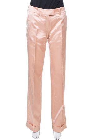 Dior Boutique Peach Satin Flared Trousers S