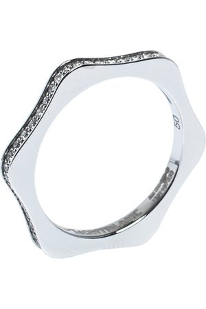 Mont Blanc 4810 Star Diamond 18K White Gold Band Ring Size 50