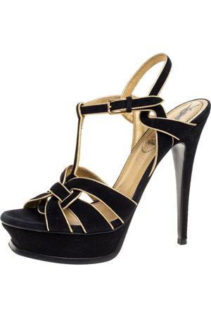 Saint Laurent Black Suede Leather Tribute Platform Ankle Strap Sandals Size 39