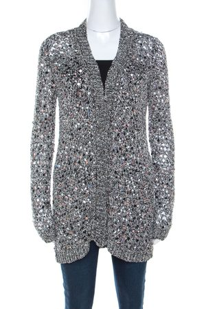 ZAC Zac Posen Silver Sequin Embellished Knit Long Sleeve Cardigan L