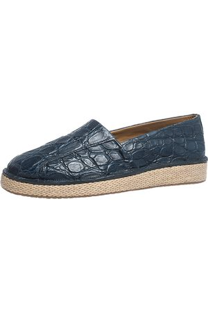 Salvatore Ferragamo Blue Crocodile Leather Lampedusa Espadrilles Size 41.5