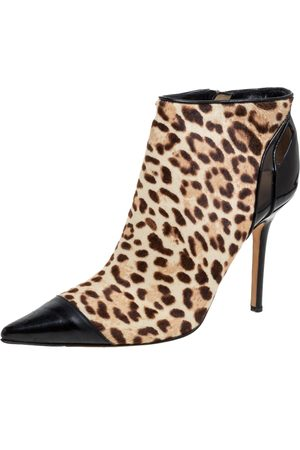 Jimmy Choo Brown/Black Leopard Print Calf Hair and Patent Leather Cap Toe Ankle Booties Size 37