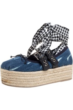 Miu Miu Blue Denim and Leather Lace Up Platform Wedge Espadrilles Size 36.5