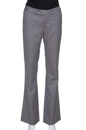 REBECCA TAYLOR Taupe & Blue Herringbone Pattern Wide Leg Trousers S