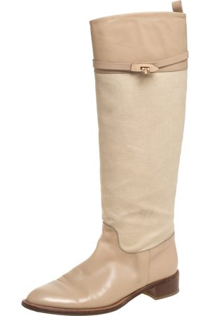 Salvatore Ferragamo Beige Canvas And Leather Calipso Knee High Boots Size 39.5