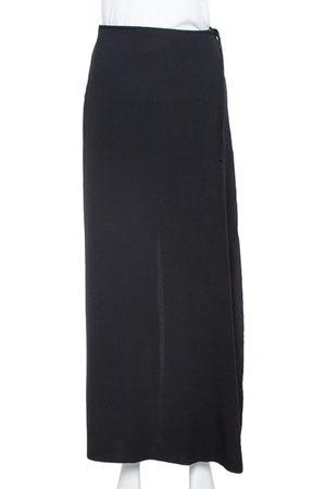 Armani Black Crepe Wrap Detail Wide Leg Trousers M