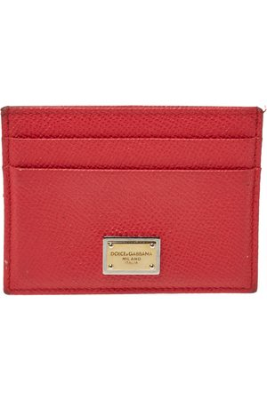 Dolce & Gabbana Coral Pink Grained Leather Card Holder