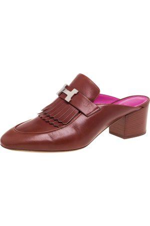 Hermès Brown Leather Tuileries Block Heel Mules Size 40.5
