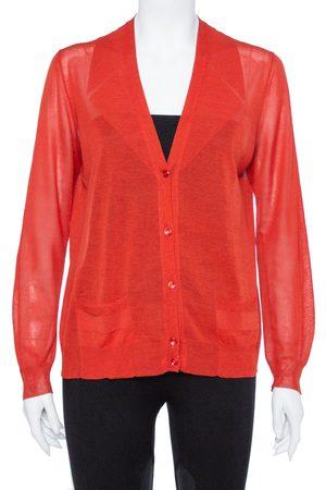 Saint Laurent Yves Saint Laurent Burnt Orange Cotton Silk Cardigan L