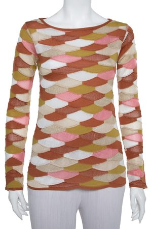 M Missoni Multicolor Scale Pattern Lurex Knit Long Sleeve Top S