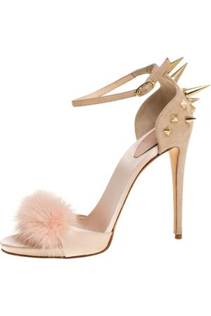 Giuseppe Zanotti Peach Satin, Suede and Fur Spiked Ankle Strap Sandals Size 37.5