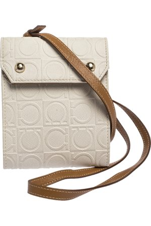 Salvatore Ferragamo White/Brown Gancini Embossed Leather Wallet Bag