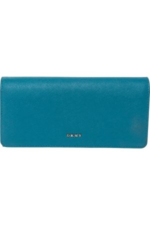 DKNY Sky Blue Leather Flap Continental Wallet