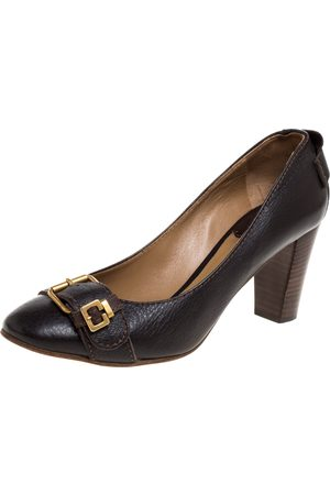 Chloé Brown Leather Buckle Detail Round Toe Block Heel Pumps Size 39