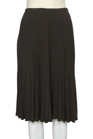 Burberry Dark Green Crepe Pleated Short Skirt L