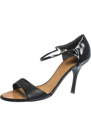 Giuseppe Zanotti Black Leather And Patent Ankle Strap Sandals Size 38.5