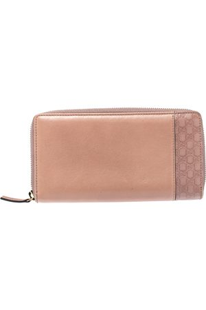 Gucci Pink Microssima Leather Zip Around Wallet