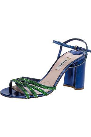 Miu Miu Green/Blue Glitter Strappy Block Heels Sandals Size 39