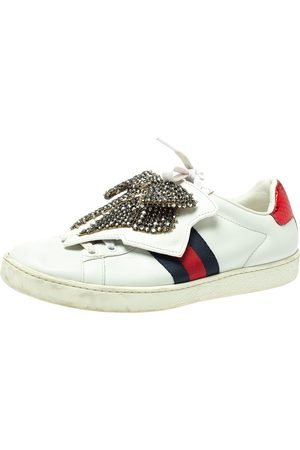 Gucci White Leather Ace Embellished Bow Patch Lace Up Sneakers Size 37