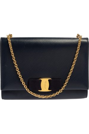 Salvatore Ferragamo Blue Leather Vara Bow Chain Shoulder Bag
