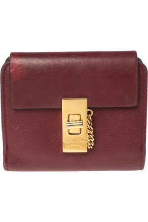 Chloé Burgundy Leather Drew Compact Wallet
