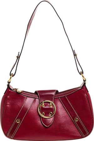 LANCEL Red Textured Leather Shoulder Bag