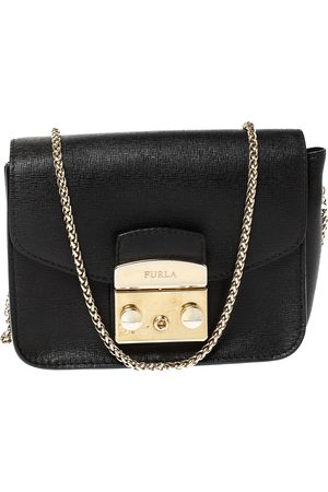 Furla Black Leather Mini Metropolis Chain Crossbody Bag