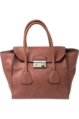 Prada Pink Glace Leather Twin Pocket Lock Tote