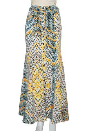 Roberto Cavalli Multicolor Denim Flared Maxi Skirt S