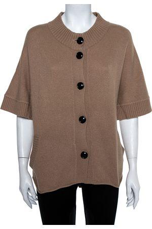 VALENTINO Vintage Beige Cashmere Belted High Neck Cardigan S