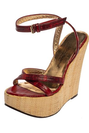 Dolce & Gabbana Red/Maroon Leather Raffia Wedge Ankle Wrap Sandals Size 35.5