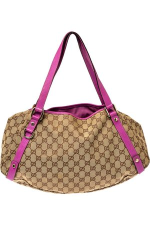 Gucci Beige/Pink GG Canvas and Leather Medium Abbey Shoulder Bag