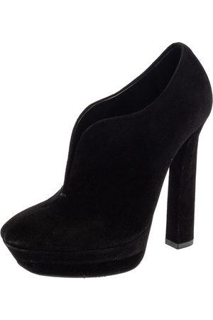 Bottega Veneta Black Suede Platform Ankle Booties Size 38