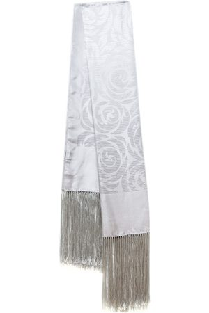 Gucci Grey Floral Silk Jacquard Fringed Scarf